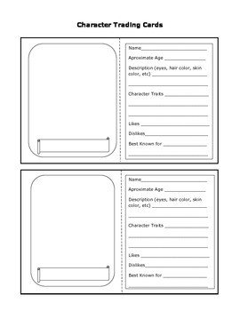 Free Trading Card Template Character Trading Cards by Sassycat Corner