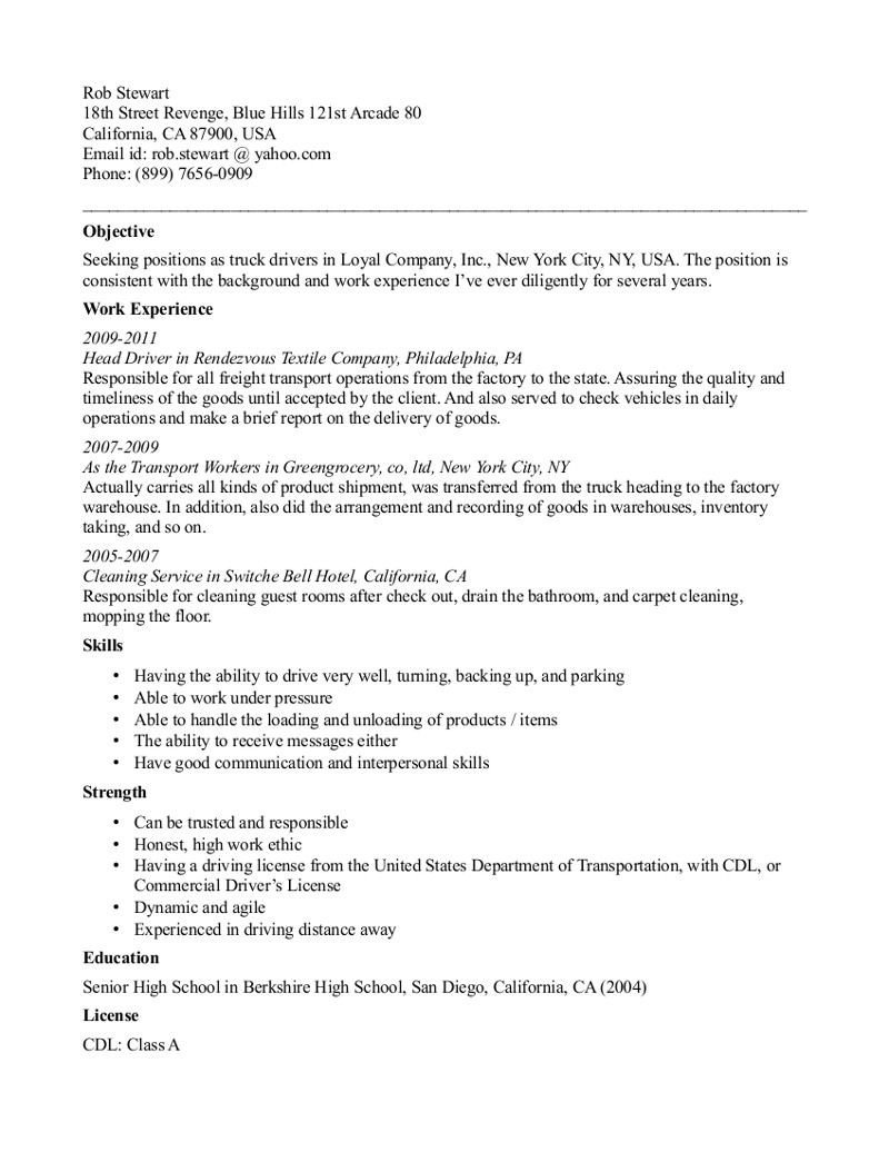 Free Truck Driver Application Template Cdl Truck Driver Resume Template