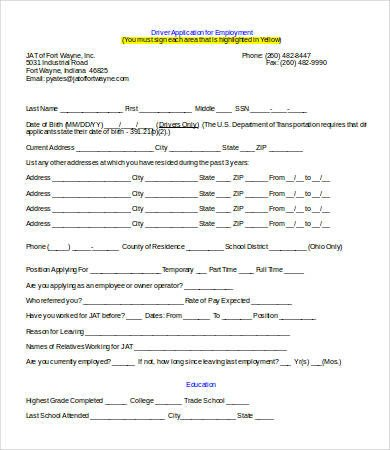 Free Truck Driver Application Template Employment Application Template Word 7 Free Word