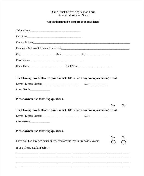 Free Truck Driver Application Template Free Application forms