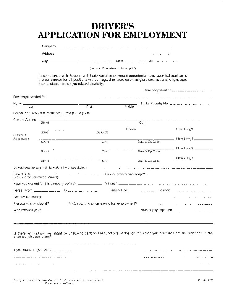 Free Truck Driver Application Template Index Of Cdn 29 1990 492