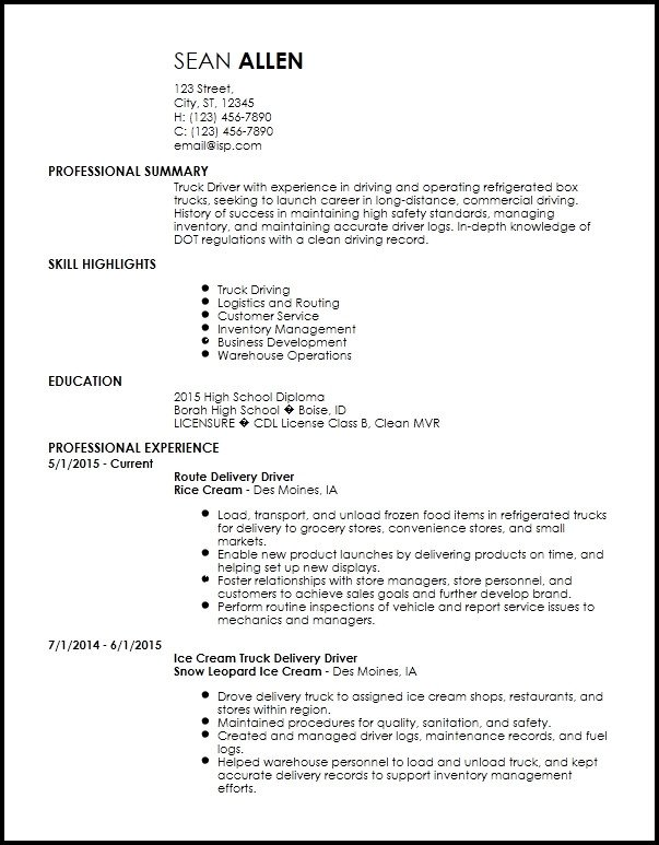 Free Truck Driver Application Template Resume Templates Free Truck Driver Flowersheet