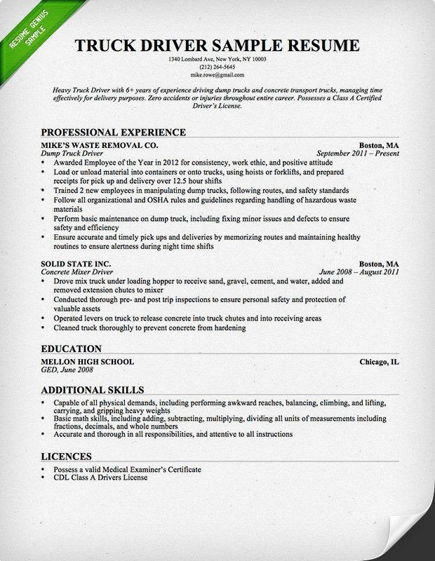 Free Truck Driver Application Template Truck Driver Trucking Resume Template for Free Download