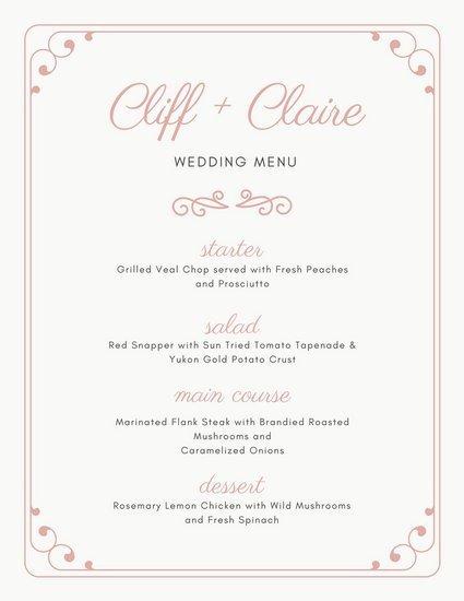 Free Wedding Menu Template Customize 273 Wedding Menu Templates Online Canva