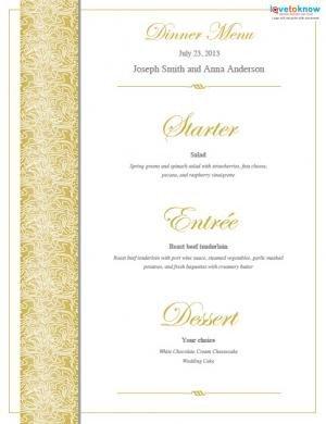 Free Wedding Menu Template Free Printable Wedding Menu Templates