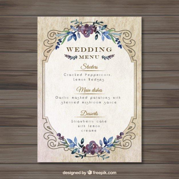 Free Wedding Menu Template Vintag Wedding Menu Template Vector