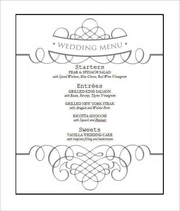 Free Wedding Menu Template Wedding Menu Template 31 Download In Pdf Psd Word