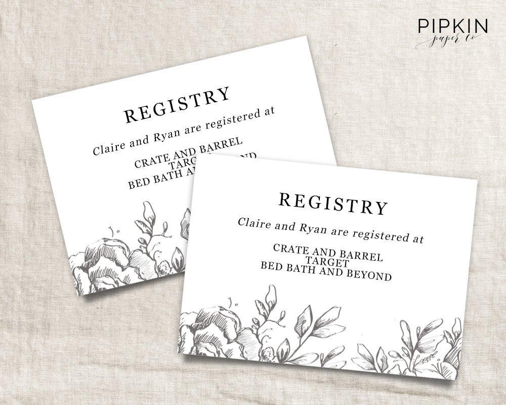 Wedding Registry Card Wedding Info Card Download Registry