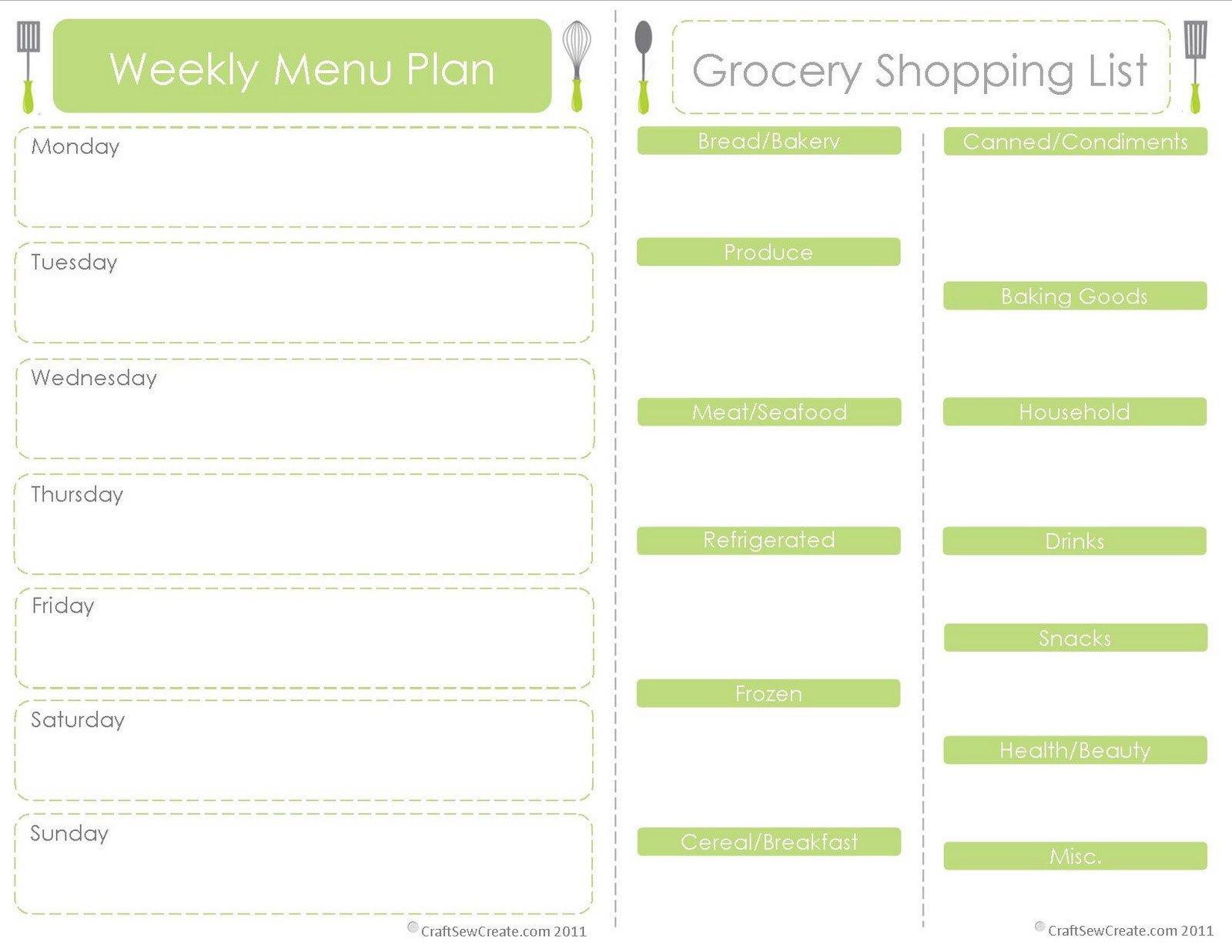Free Weekly Meal Planner Template Craft Sew Create Free Printable Menu Plan Shopping List