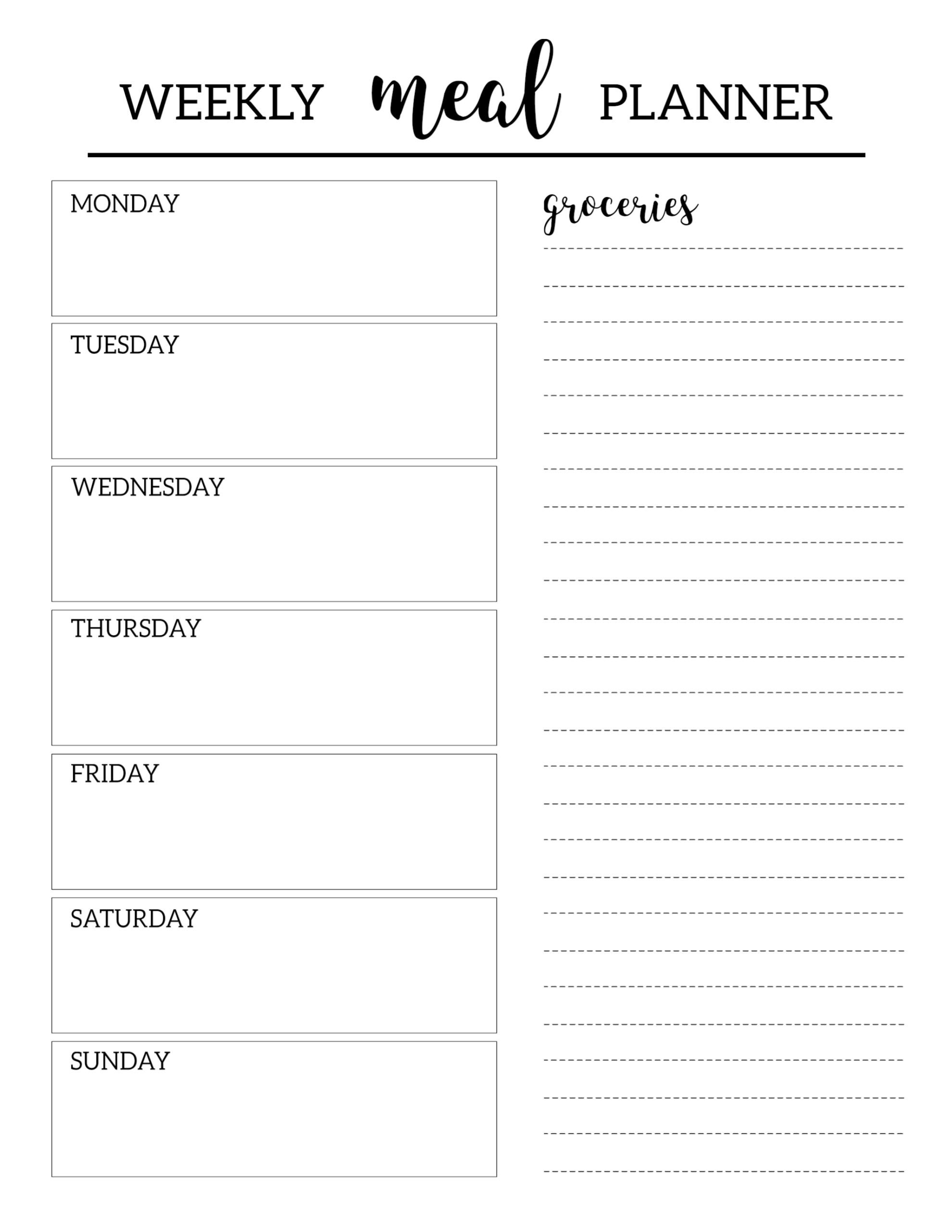 Free Weekly Meal Planner Template Free Printable Meal Planner Template Paper Trail Design