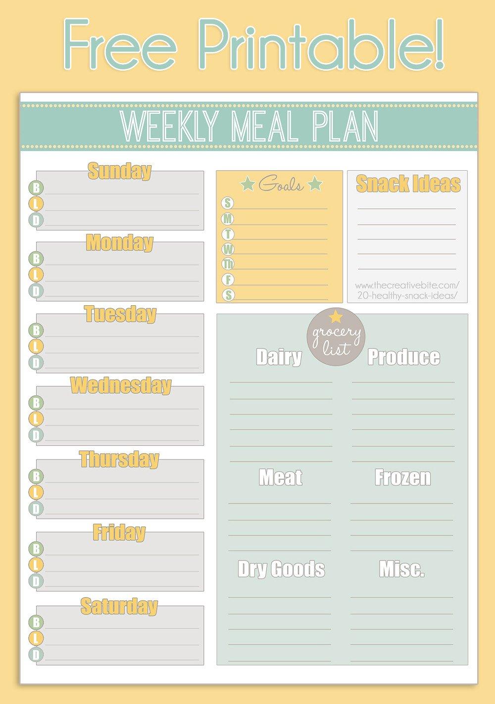 Free Weekly Meal Planner Template Free Printable Weekly Meal Planner Calendar