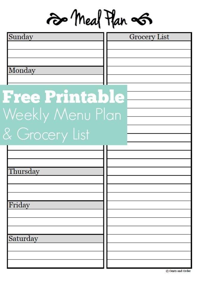Free Weekly Meal Planner Template Meal Planning Free Weekly Menu Planner Printable