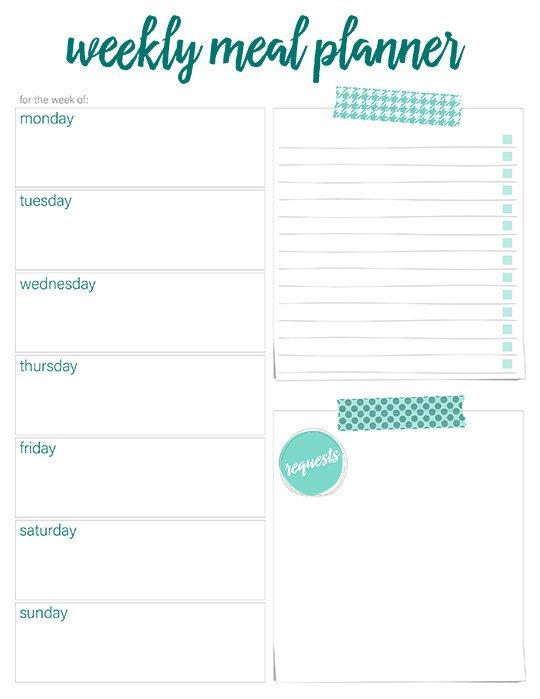 Free Weekly Meal Planner Template Printable Weekly Meal Planners Free