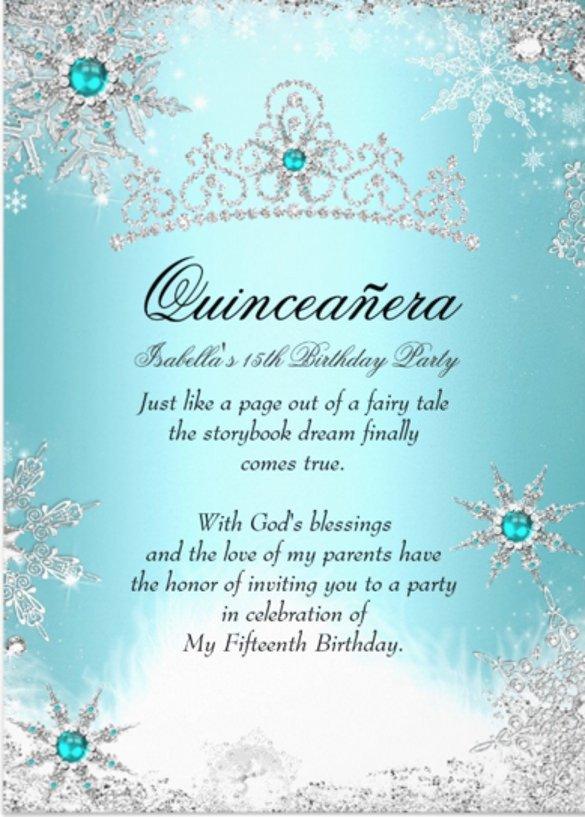 Free Winter Wonderland Invitations Templates 28 Quinceanera Invitations Templates Psd Vector Eps