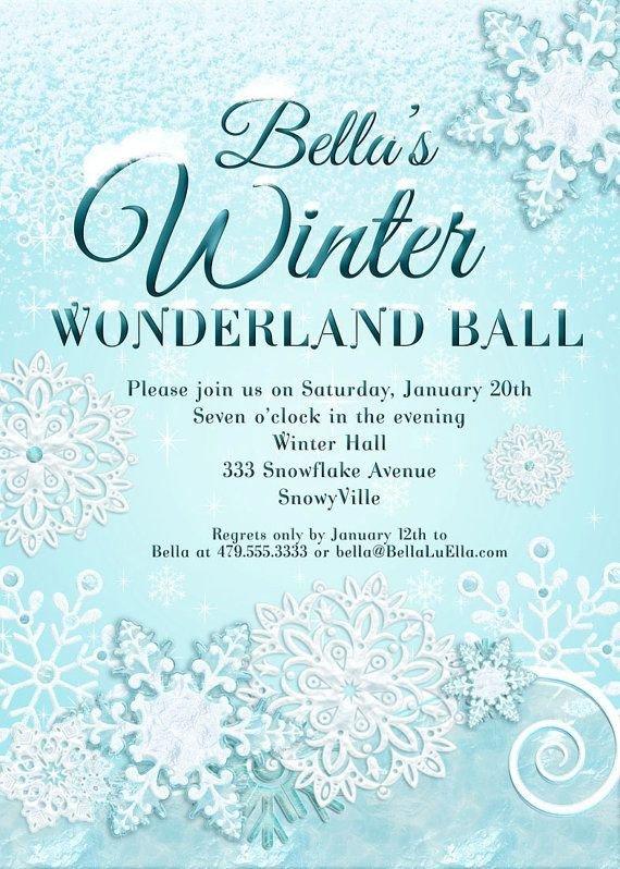 Free Winter Wonderland Invitations Templates Snowflake Invitation Frozen Pinterest