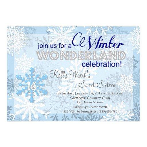 "Free Winter Wonderland Invitations Templates Snowflakes Sweet 16 Winter Wonderland Invitation 5"" X 7"