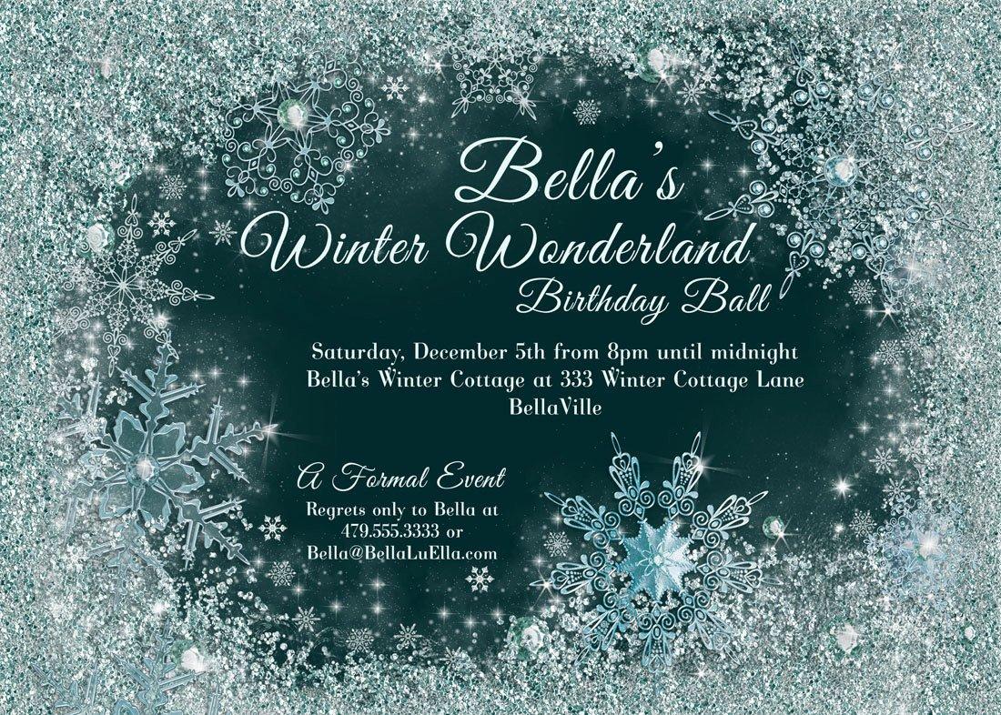 Free Winter Wonderland Invitations Templates Winter Wonderland Party Winter Snowflake Ball Invitation