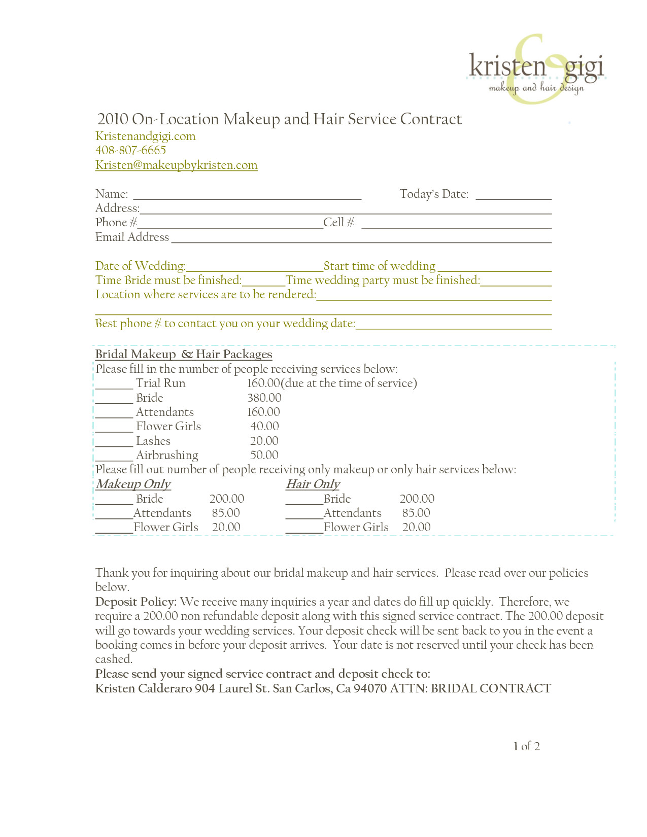 Freelance Makeup Artist Contract Template Bridalhaircotract