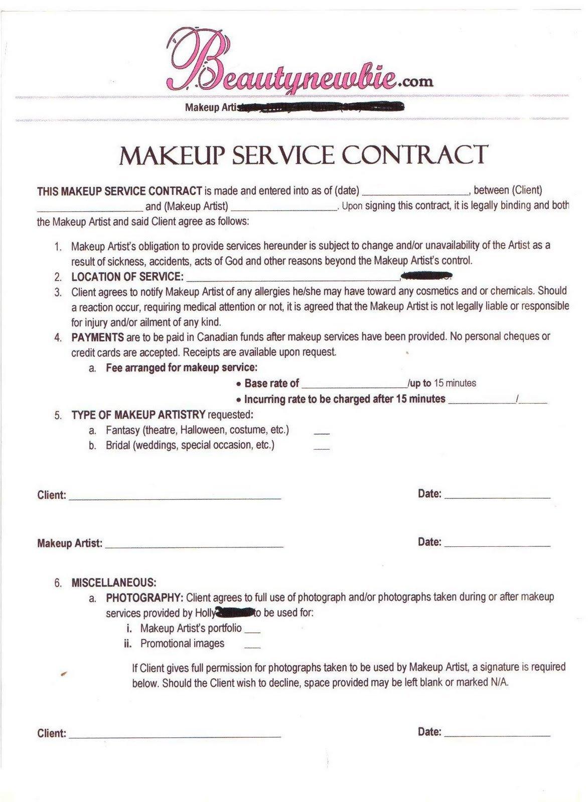 Freelance Makeup Artist Contract Template Freelance Makeup Artist Contract Template