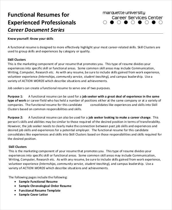 Functional Resumes Templates Free 10 Functional Resume Templates Pdf Doc