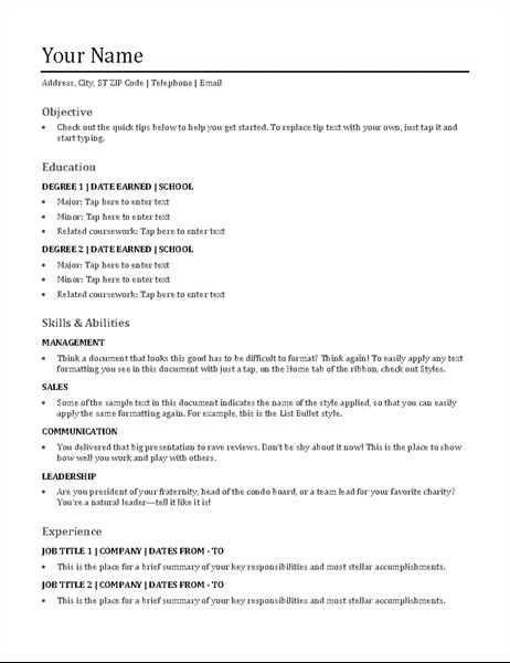 Functional Resumes Templates Free Functional Resume