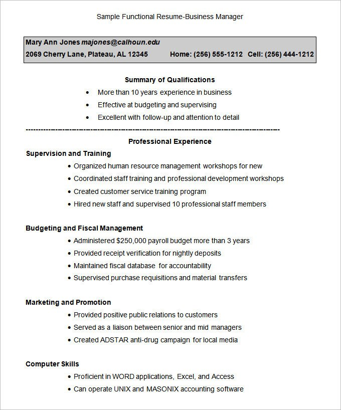 Functional Resumes Templates Free Functional Resume Template – 15 Free Samples Examples