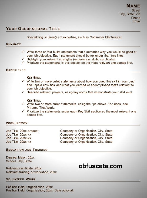 Functional Resumes Templates Free Resume Templates