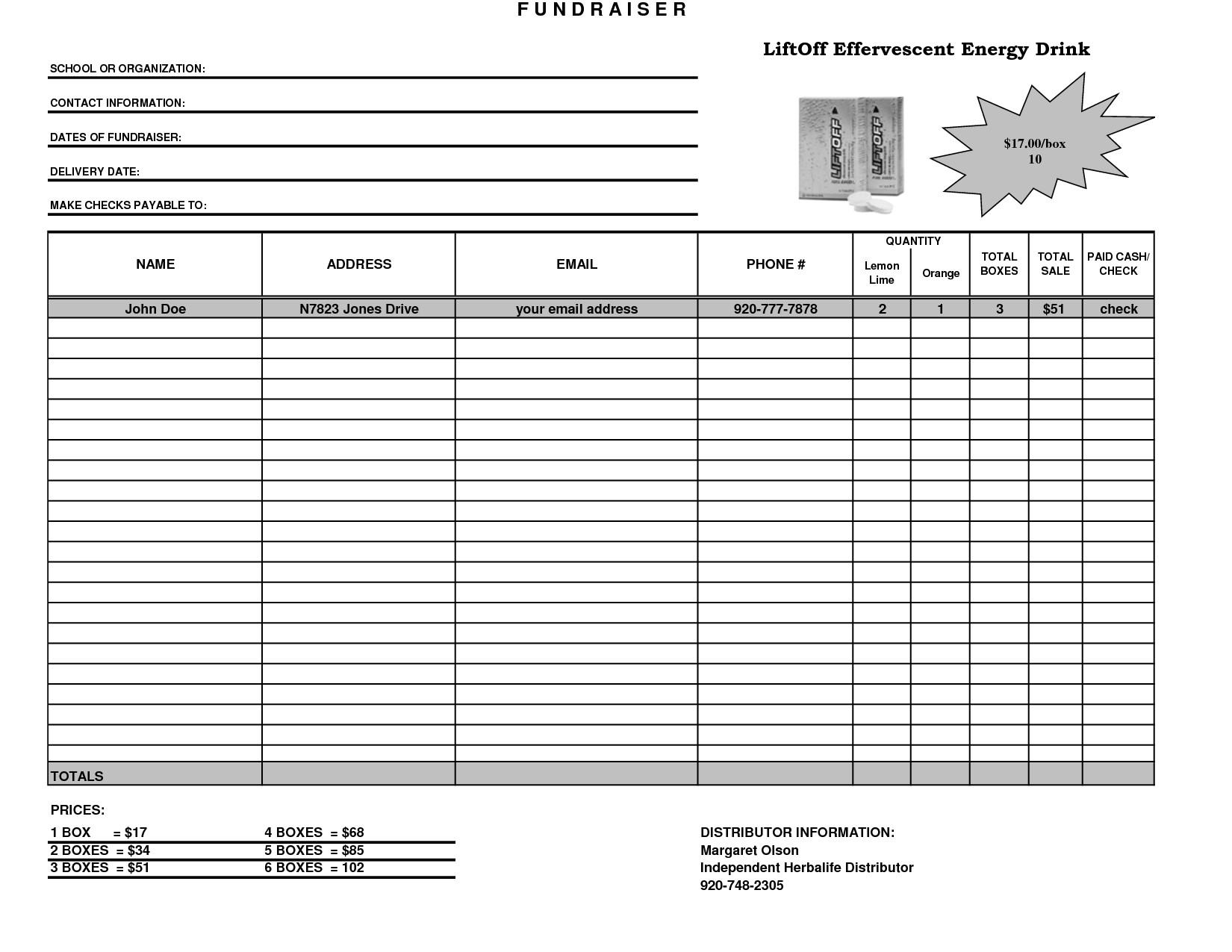 Fundraising order form Templates Fundraiser Template Excel Fundraiser order form Template