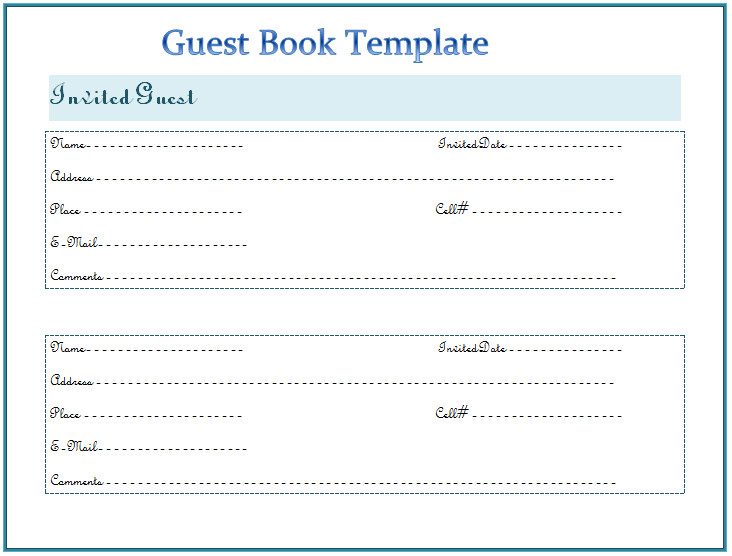Funeral Guest Book Template Guest Book Template Best for Any event