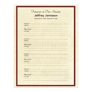 Funeral Guest Book Template Memorial Book Filler Sign In Page 4 Names Per Page
