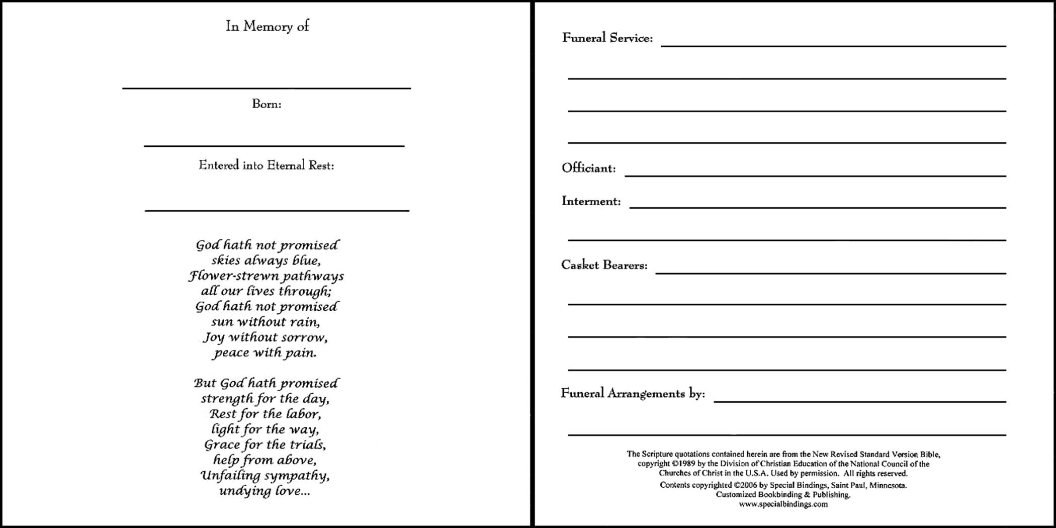 Funeral Guest Book Template Memorial Book