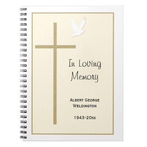 Funeral Guest Book Template Memorial Funeral Guest Book Notebook Cross Dove