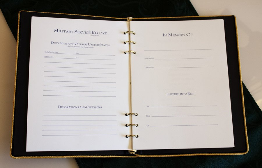 Funeral Guest Book Template Military Funeral Guest Book Memorial Book with Military