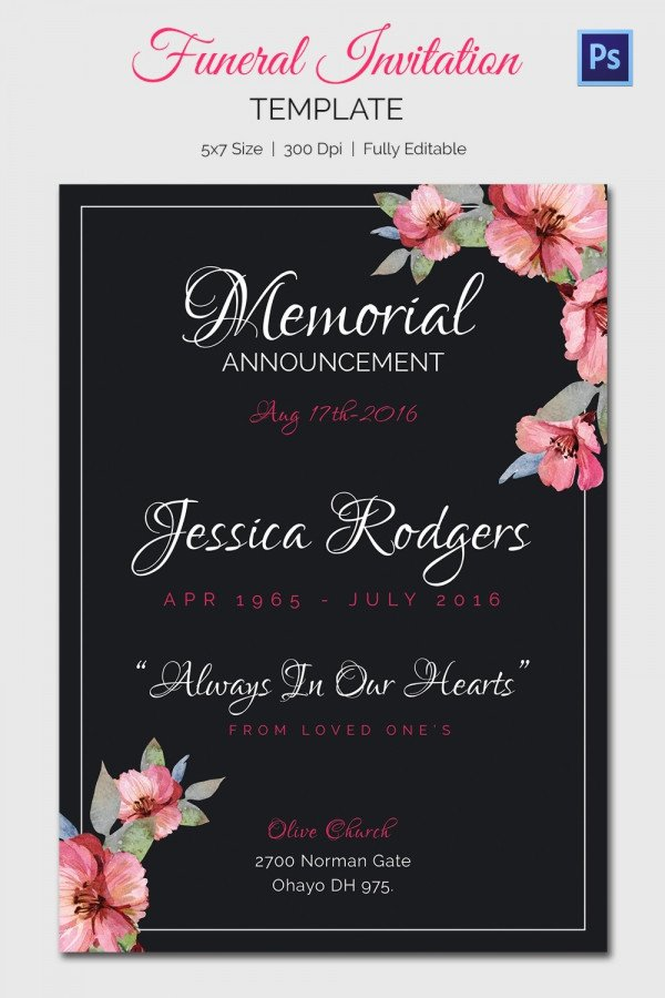 Funeral Invitation Template Free 15 Funeral Invitation Templates – Free Sample Example