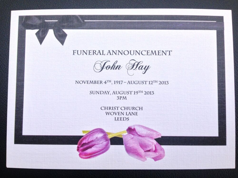 Funeral Invitation Template Free 25 X Personalised Funeral Announcement Invitation Cards