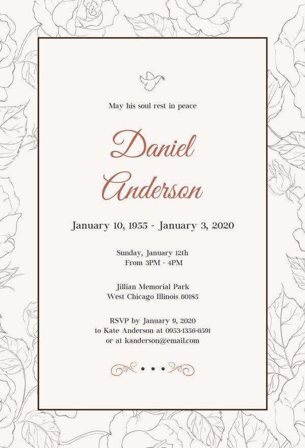 Funeral Invitation Template Free 27 Best Blank Invitation Templates Psd Ai