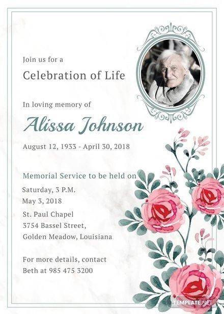 Funeral Invitation Template Free Memorial Service Invitation Template