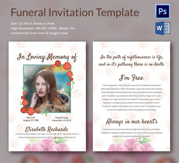 Funeral Invitation Template Free Sample Funeral Invitation Template 11 Documents In Word