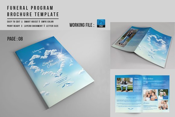 Funeral Mass Booklet Template 8 Page Funeral Booklet Template V527 Brochure Templates