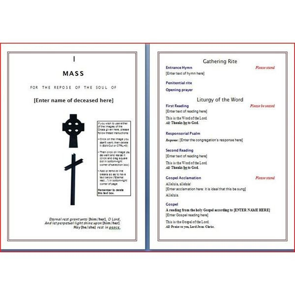 Funeral Mass Booklet Template Catholic Funeral Program Templates Seven solid Evidences