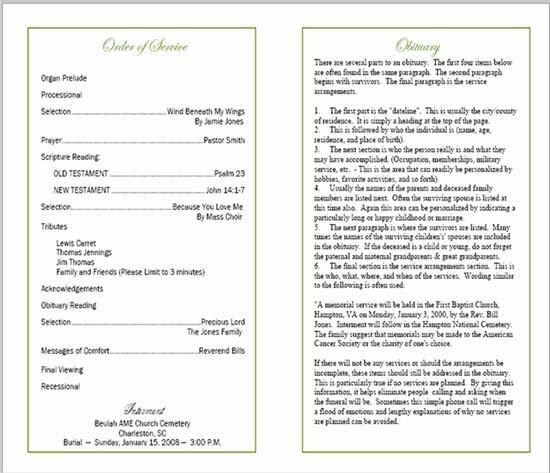 Funeral Mass Booklet Template Sample Funeral Program
