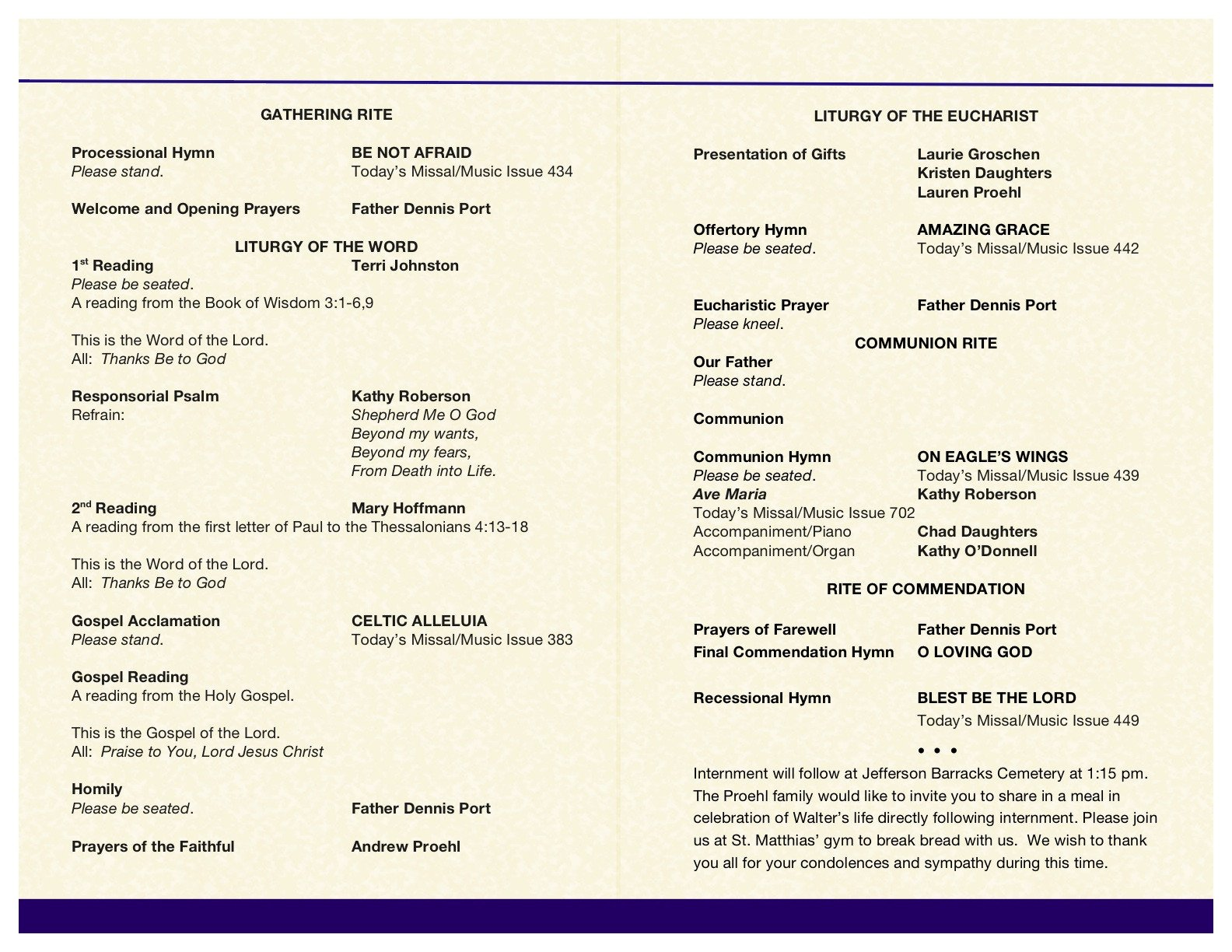 Funeral Mass Booklet Template Wally's Funeral Mass Booklet