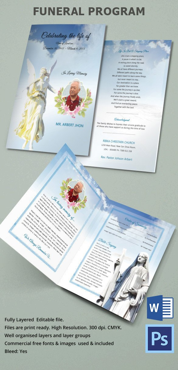 Funeral Pamphlet Template Free 31 Funeral Program Templates – Free Word Pdf Psd