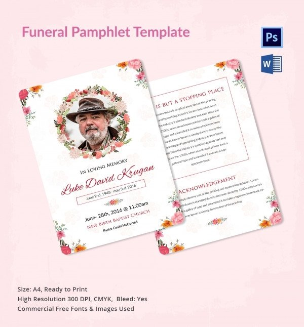 Funeral Pamphlet Template Free 5 Funeral Pamphlet Templates Word Psd format Download