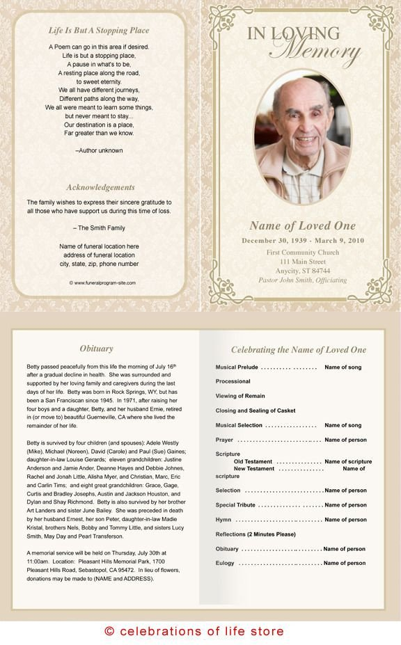 Funeral Pamphlet Template Free Alexandria Printable Funeral Program Template