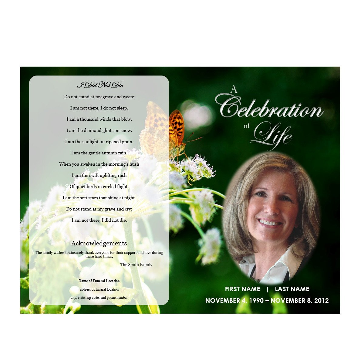 Funeral Pamphlet Template Free butterfly Memorial Program Funeral Pamphlets