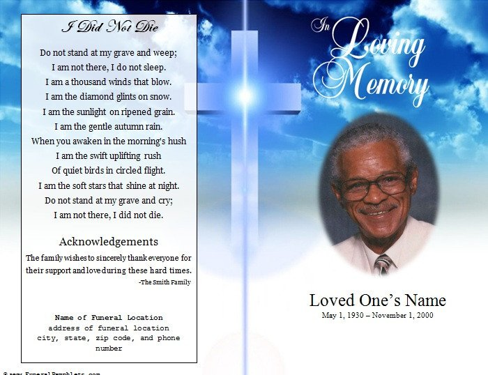 Cross Single Fold Funeral Program Funeral Pamphlets