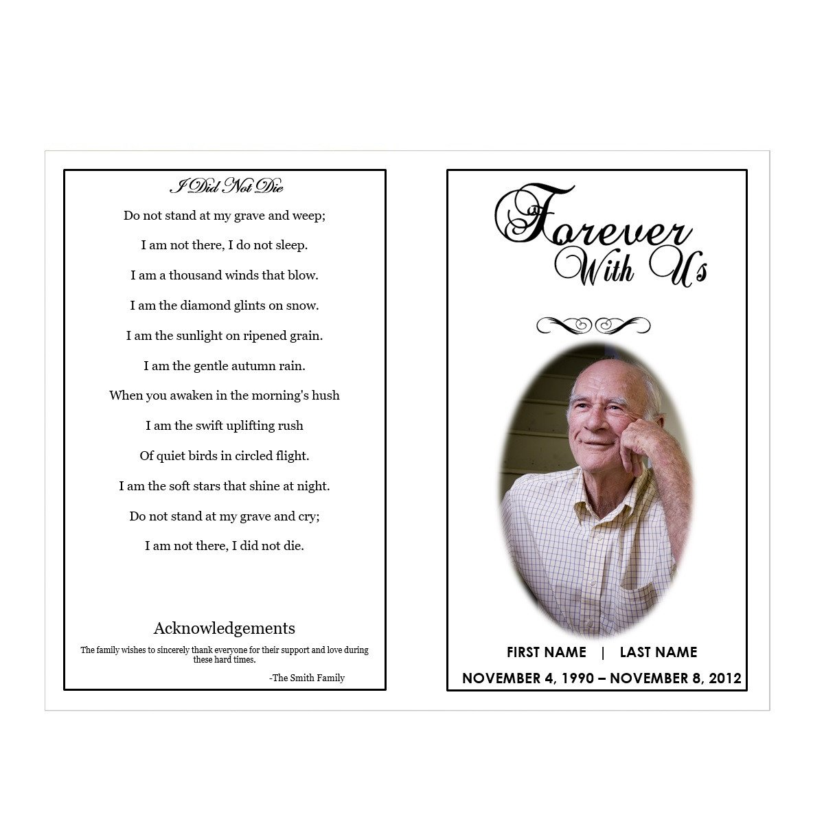 Funeral Pamphlet Template Free forever with Us Funeral Pamphlets