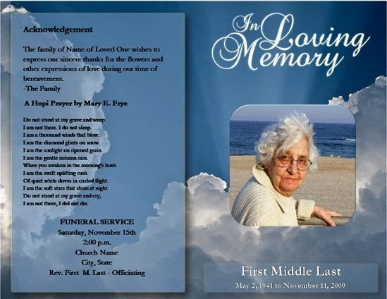 Funeral Pamphlet Template Free Free Funeral Program Template Microsoft Word