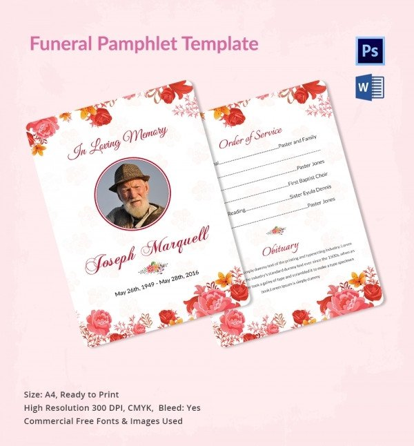Funeral Pamphlet Template Free Funeral Program Template 16 Word Psd Document Download